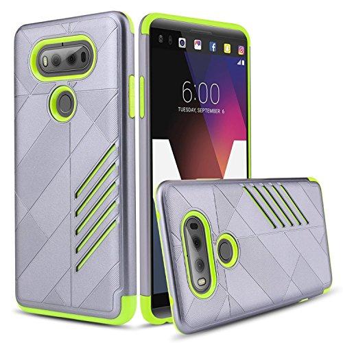 V20 Case,LG V20 Case, Slim Hybrid Dual Layer [Hard PC Back Cover + TPU Bumper] Shockproof Protective Case Cover for LG V20,Grey+Green