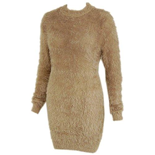 Fashion Thirsty Womens Long Furry Jumper Dress Soft Stretchy Top 12 - 16 Mocha Brown -