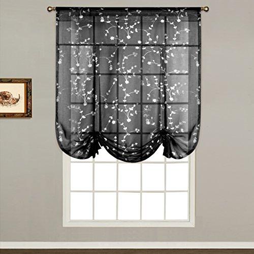 United Curtain Savannah Tie Up Shade, 40 by 63-Inch, Black (Kitchen Savannah)