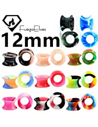 "1/2""(12mm) 20 PCS Soft Silicone Ear Gauges Flesh Tunnels Plugs Stretchers Ear Piercing Jewelry Mixed Color E0001"