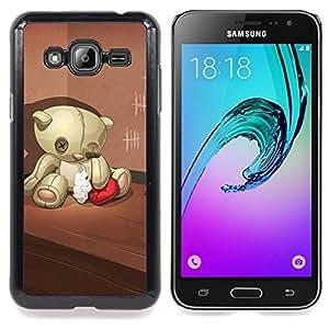 - Teddy Bear Sad Lonely Broken Heart Red - Caja del tel????fono delgado Guardia Armor- For Samsung Galaxy J3 Devil Case