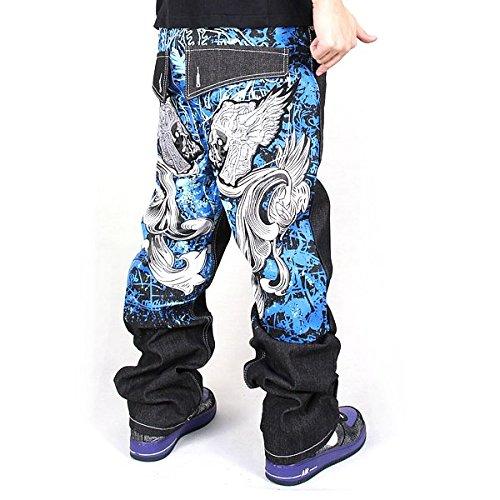 Denim Pizoff Uomo Skull Hop Harem Hip Baggy J9001 Ricamo Stampa Jeans A8rZAqw