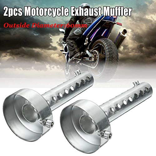 2Pcs Universal Motorcycle Exhaust Pipe Insert Muffler Removable Silencer DB Killer Silencer Noise Sound Eliminator 60mm Silver