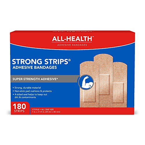 All-Health Strong Strips Heavy-Duty Adhesive Bandages, 1 inch, 180 - Dressing Fabric Strip