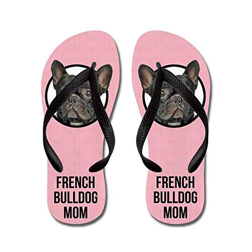 Cafepress Fransk Bulldogg Mamma - Flip Flops, Roliga Rem Sandaler, Strand Sandaler Svart