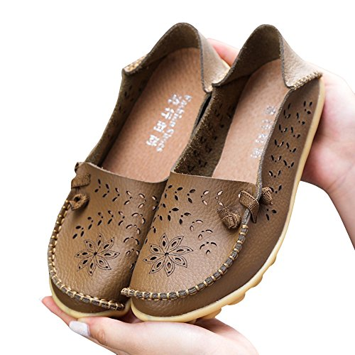 Blivener Kvinna Tillfälliga Loafers Ihåliga Platta Skor Sommar Tofflor Khaki