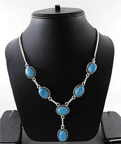 Blue Turquoise Agate Necklace Silver Overlay Fashion Jewellery Designer Statement Jewelry 18 Inches. ()