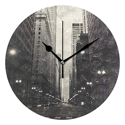 MostFans 9.5in Battery Operated Wall Clock Lasalle Street Station Print Round Wall Clocks Creative Silent Decorative