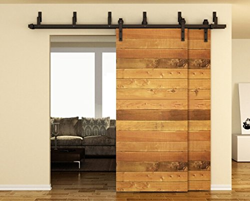 TCBunny 6.6FT Bypass Double Door Sliding Barn Door Hardware (Black) (J Shape Hangers) (2 x 6.6 foot Rail) by TCBunny