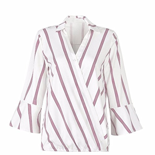 Shybuy Women Striped Shirts V Neck Blouses Ladies Tops (M, (Striped 2fer Top)