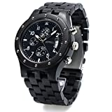 Bewell W109D Wood Watches for Men Sub-dial Stopwatch Quartz Analog Date Display Wooden Watch (Ebony)