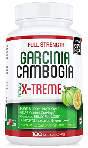 95% HCA 180 Caps. 1 Bottle Garcinia Cambogia X-TREME, Extract 3 Months Uninterrupted Supply, Fat Burner Max Strength with Less Effort, Appetite Suppressant, Natural and Safe.