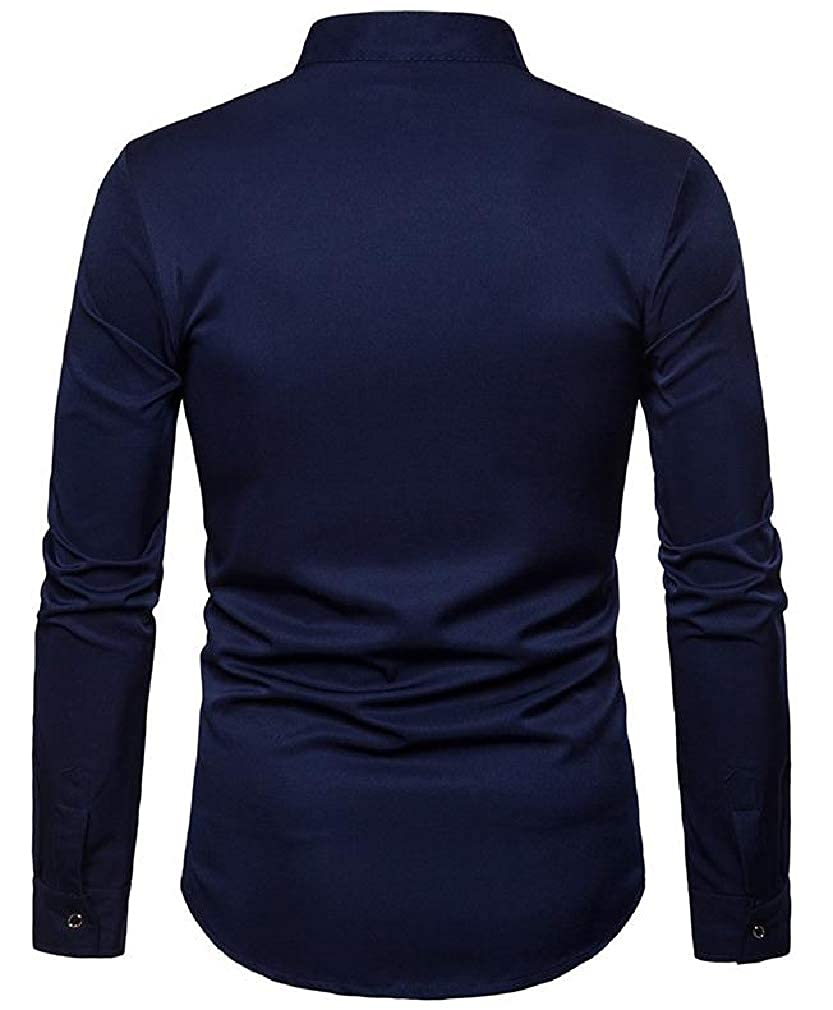 Sweatwater Mens Business Long Sleeve Print Stand Neck Button Down Shirts