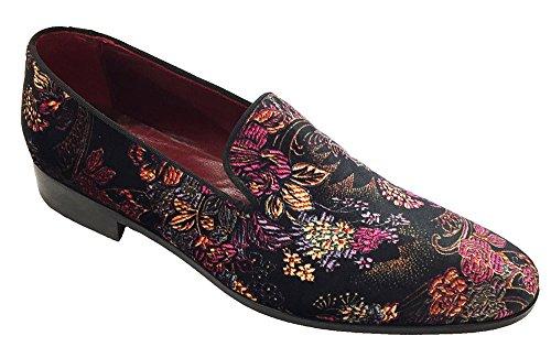 scarpe uomo, slipper in velluto fiorato artigianali