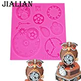 Star-Trade-Inc - Silicone Mold Fondant Cake Mould gear Clock Pocket Watch Cupcake Decorating Tools Steam Punk Baking Kitchen Accessories T0915
