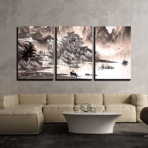 Chinese Landscape Watercolor Painting x3 Panels