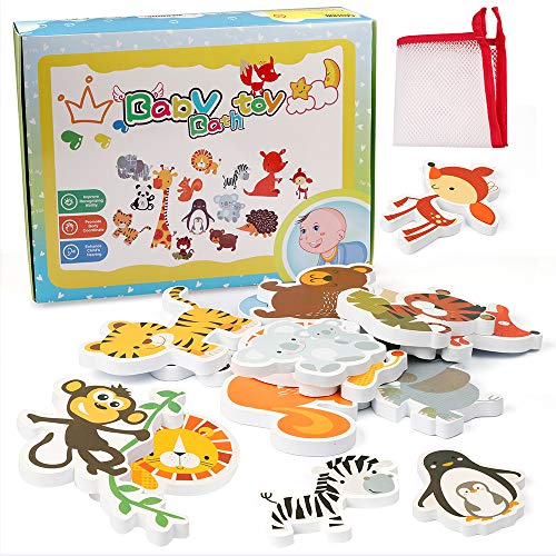 Coogam Foam Animal Bath Toy Floating EVA Animals Bathtub Sticker Set Water Playing Preschool Early Learning Educational Gift for 1 2 3 Years Old Toddlers Baby Kids (18 ()