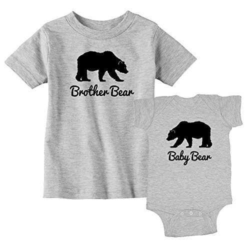 We Match! Brother Bear & Baby Bear Matching Kids T-Shirt & Bodysuit Set (12M Bodysuit, Toddler 3T, Sport Grey)]()
