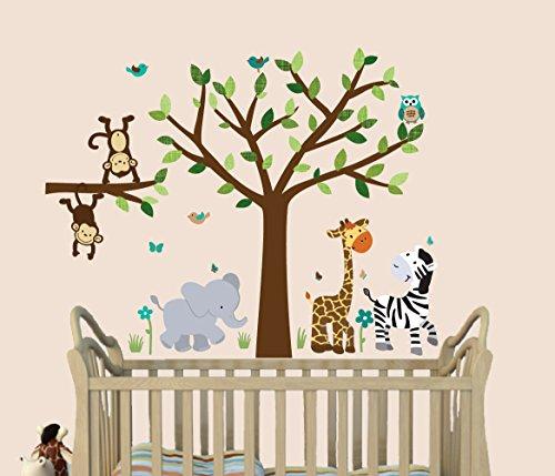fabric-tree-safari-evergreen-jungle-decals-jungle-stickers-stickers-for-kids