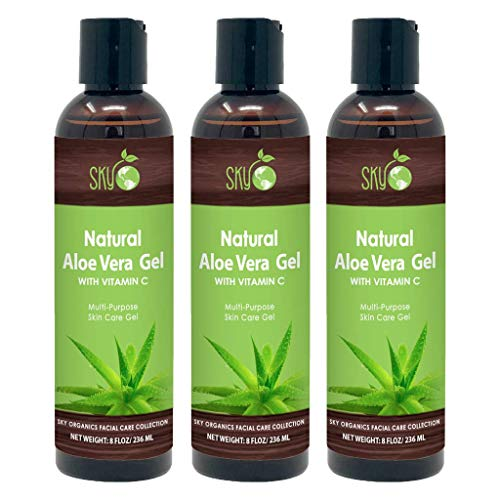Aloe Vera Gel All Natural Ultra Hydrating Skin Cooling Aloe Gel, Non-Sticky Relief of Sunburns, Razor Burns, Bug Bites- Hair Conditioner & Gel- Cold Pressed, Made in USA, 8 oz (3pack)