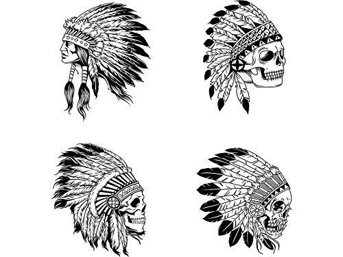 Yetta Quiller Bundle of 4 Indian Woman Cherokee Headdress Native Mascot Feather Warrior Vector Clipart Vinyl Sticker Circuit Vinyl Wall Decor Cutting