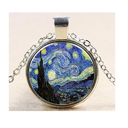 Darkey Wang Women's Fashion Van Gogh Star Time Gemstone Pendant Necklace(Sliver)
