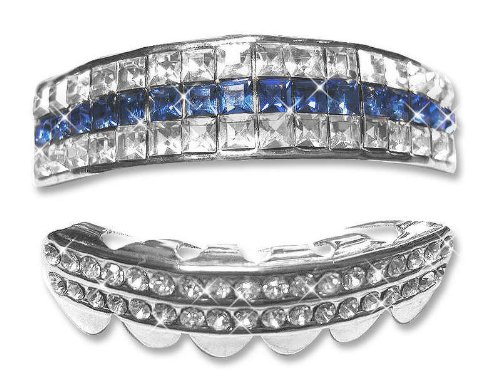 Hip Hop Platinum Silver Plated Removeable Mouth Grillz Set (Top & Bottom) 5 rows of Bling Blue