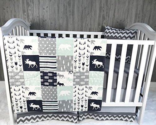 Baby Boy/Girl Chevron, Baby Bedding, Woodlands, Moose, Bear, Neutral, Crib Bedding, Nursery Room, Babylooms from Babylooms