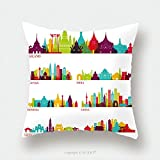 Custom Satin Pillowcase Protector Skyline Detailed Silhouette Set Thailand Malaysia India Indonesia China Vietnam Japan 565210636 Pillow Case Covers Decorative