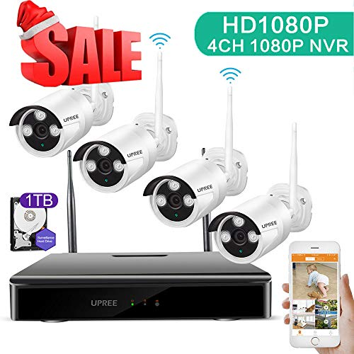 UPREE Wireless Surveillance System,4CH 1080P DVR Wireless Video Security System with Pre-Installed 1 TB,4pcs 1080P Wireless Wireless IP Cameras,P2P,65ft Night Vision,Easy Remote View,