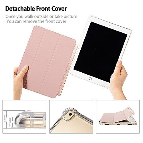 Valkit iPad 6th/5th Generation Case, iPad 9.7 Inch Case 2018/2017, iPad Air Case, iPad Air 2 Case - Smart Folio Stand Protective Translucent Frosted Back Cover with Auto Wake/Sleep, Rose Gold