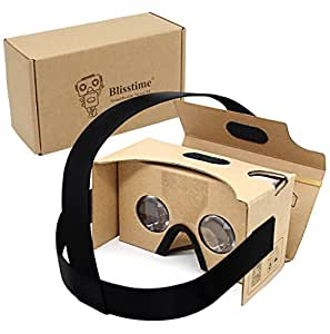 Blisstime Google Cardboard V2.0 3d Glasses Vr Virtual Reality Cardboard Kit with Headband Fit for 3--6inch Screen