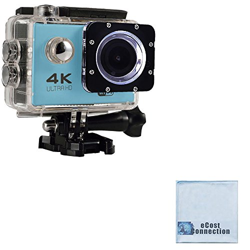 eCostConnection 4K Ultra HD 12MP WiFi Waterproof Sports Action Camera (Blue) with Anti-Shake DSP + eCostConnection Microfiber Cloth