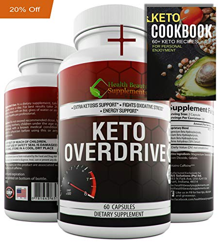 Keto Overdrive by Health Beauty Supplements| Plus Free Keto Cookbook E-Book. 800mg Keto BHB Supplement for Women and Men. Fast Acting Ketosis. Ketogenic Diet Carb Blocker. 60 Capsules