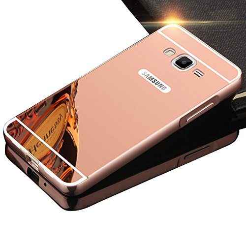 DAMONDY Galaxy Grand Prime Case,Luxury Metal Air Aluminum Bumper Detachable + Mirror Hard Back Case 2 in 1 Cover Ultra-Thin Frame Case for Samsung Galaxy Grand Prime G5308 G530H(Rose)