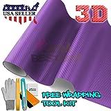 Free Tool Kit 3D Purple Carbon Fiber Texture Vinyl Wrap Sticker Decal Film Sheet - 24'X60'