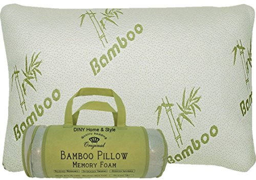 DINY Home & Style Bamboo Memory Foam Pillow In a Bag - Hypoallergenic Helps Relieve Snoring, Migraines, Insomnia, Neck Pain and Tmj - May Help with Asthema (White, King)