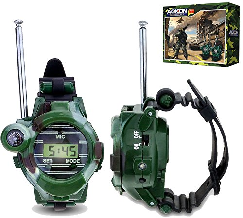 Cool Outside Toys (Walkie Talkies for Kids, Aokon Two-Way Long Range Watch Radio Transceiver with Flashlight for Children, Cool Outdoor Toys Gifts For Girls & Boys, 2)