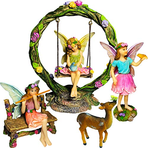 Fairy Garden Set (Mood Lab Fairy Garden Kit - Miniature Figurines with Accessories Swing Set of 6 pcs - Hand Painted for Outdoor or House Decor)