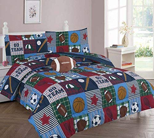 (Elegant Home Patchwork Sports Football Basketball Baseball Soccer Design 8 Piece Comforter Bedding Set for Boys/Kids Bed in a Bag with Sheet Set & Decorative Toy Pillow (Sports Patchwork, Full Size))