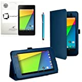 New Google Nexus 7 FHD 2013 Second Generation (7-Inch) Jelly Bean Android 4.3 (16GB / 32GB WiFi / 4G LTE) BLUE Multi-Function New Nexus 7 Leather Case / Cover / Typing & Viewing Stand / Flip Case With Magnetic Sleep / Wake Sensor & Nexus 7 FHD 2 2.0 II Tablet Screen Protector Shield Guard & SMART Stylus holder Accessory Accessories Pack by InventCase