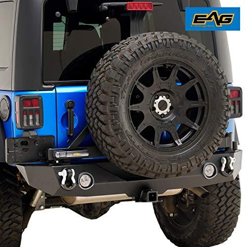 EAG LED Light Rear Bumper W/Secure Lock Tire Carrier for 07-18 Jeep Wrangler JK Bumper Black Jeep Wrangler