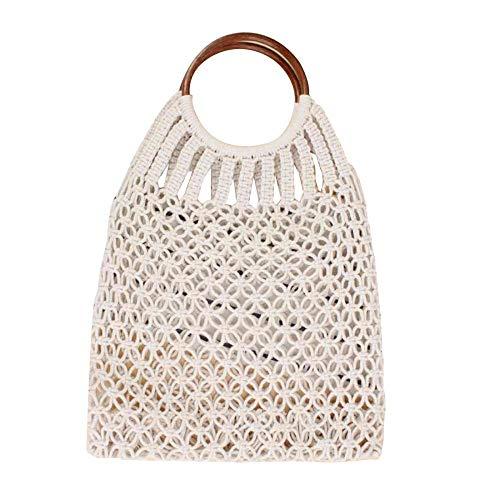 Handmade Straw Bag Travel Beach Fishing Net Handbag Shopping Woven Shoulder Bag for Women/Girls (Beige)
