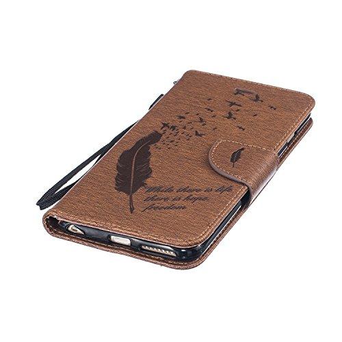 Coque pour Apple iPhone 6s Plus(5.5 Zoll ) ,Housse en cuir pour Apple iPhone 6s Plus(5.5 Zoll ) ,Ecoway Feather motif en relief étui en cuir PU Cuir Flip Magnétique Portefeuille Etui Housse de Protect