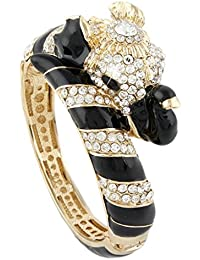 Women's Austrian Crystal Enamel Gorgeous Elephant Animal Bangle Bracelet Gold-Tone