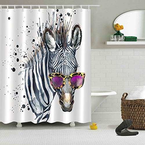 LB Cool Zebra in Sunglasses Shower Curtain for Bathroom, Funny Kids Animal Print Fabric Shower Curtain for Bathtub Shower Stall, Waterproof Decorative Curtain, 70 W x 78 L Extra Long (Curtains Glass Shower)