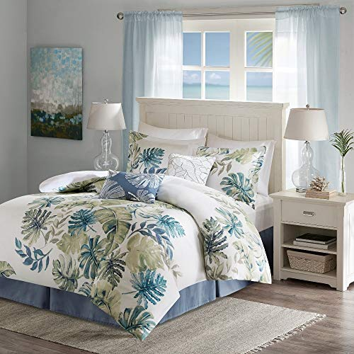 - HNU 6 Pieces Leaf Comforter Set California King, Nautical Bedding Set, Modern Contemporary Coastal Traditional Victorian Beautiful Decorative Lush Tropical Motif Sage Blue Soft Cozy Comfy