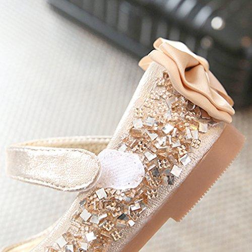 Eozy Kinder Ballerina Mädchen Glitzer Festliche Schuhe Kinderschuh Gold