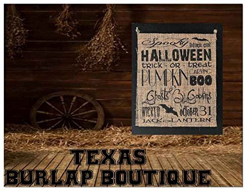 JUST MADE: Halloween Collection: Spooky Halloween black cat Trick-or-treat Pumpkin carving BOO jack o lantern Burlap Country Rustic Chic Wedding Sign Western Home Décor Sign ()