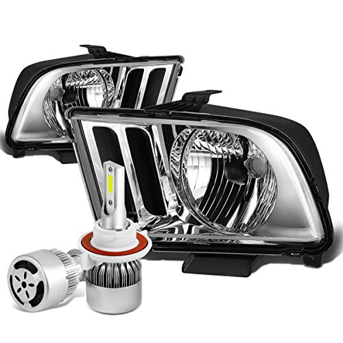 For Ford Mustang Pony 5th Gen Pair of OE Style Chrome Housing Headlight + H13 LED Conversion Kit (Gen 5 Conversion)